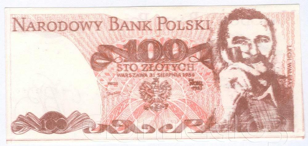 Awers 100 złotych 1984 z Lechem Wałęsą z fajką i dopiskiem Nobel 83