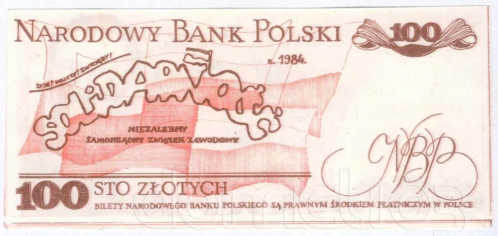 Rewers 100 złotych 1984 z Lechem Wałęsą z fajką i dopiskiem Nobel 83
