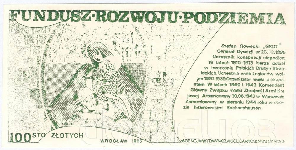 Rewers 100 złotych 1985 ze Stefanem Roweckim GROT