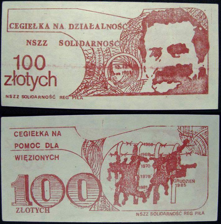 100 złotych cegiełka na działalność NSZZ z Lechem Wałęsą