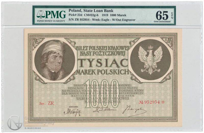 Awers banknotu 1000 marek polskich 1919 w ocenie PMG 65 EPQ