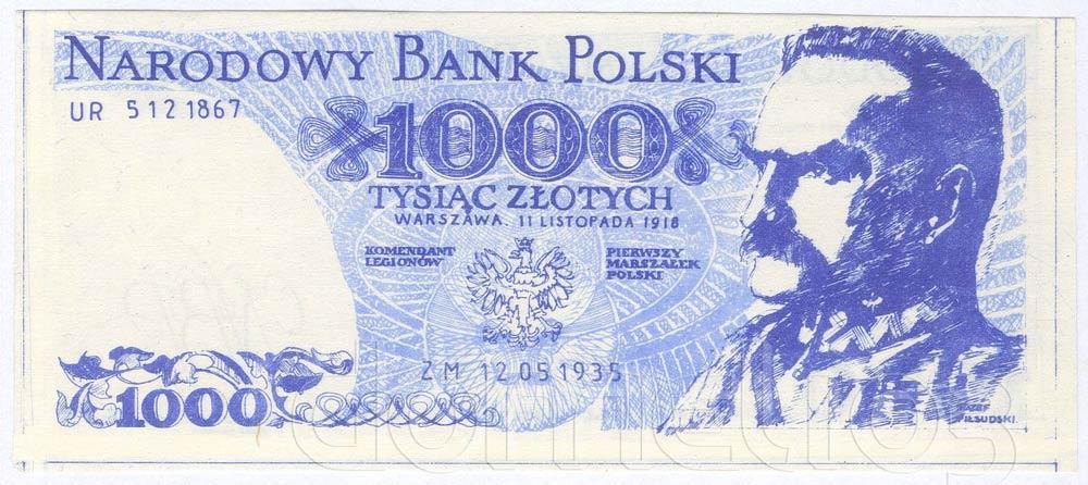 Awers 1000 złotych 1918 z Józefem Piłsudskim