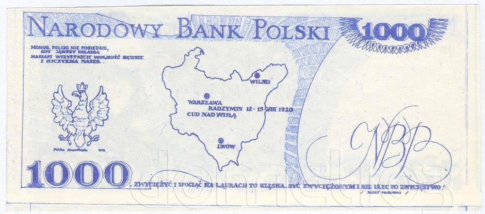 Rewers 1000 złotych 1918 z Józefem Piłsudskim