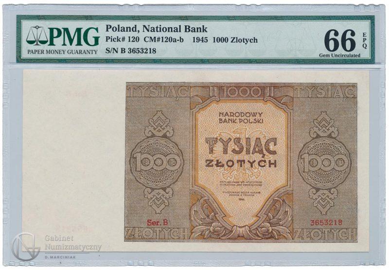 Awers banknotu 1000 złotych 1945 w ocenie PMG 66 EPQ