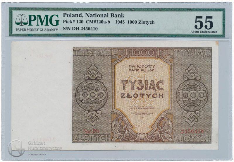 Awers banknotu serii zastępczej Dh 1000 złotych 1945 w ocenie PMG 55