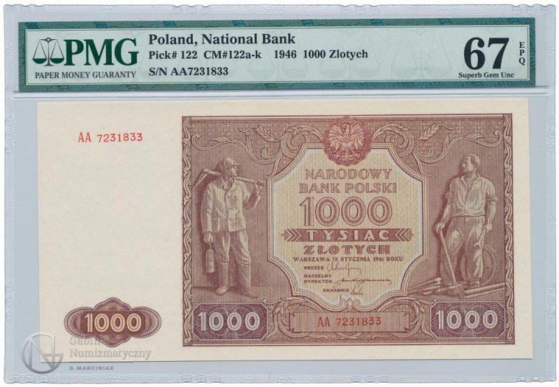 Awers banknotu 1000 złotych 1946 w ocenie PMG 67 EPQ