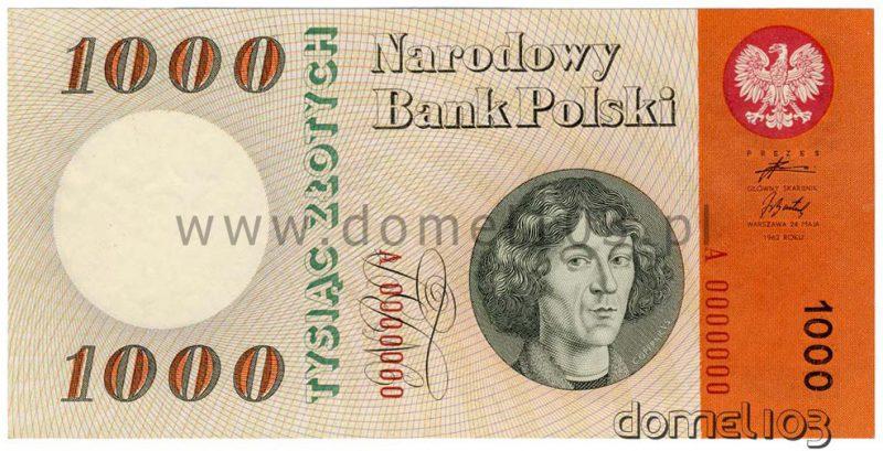 Banknot 1000 złotych 1962 z podpisem Adama Żebrowskiego