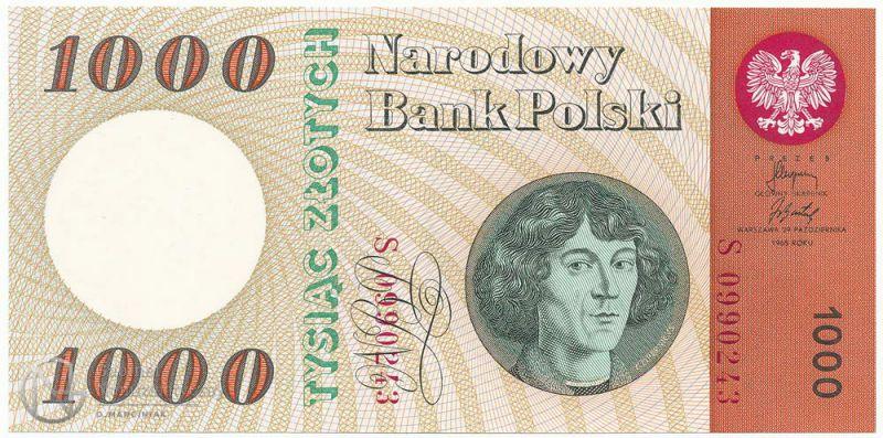 Awers banknotu 1000 złotych 1965 z Mikołajem Kopernikiem