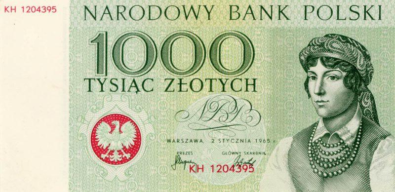Awers banknotu 1000 złotych 1965 z serii Miasta Polskie wersja 1