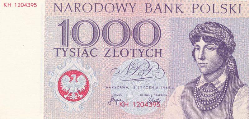 Awers banknotu 1000 złotych 1965 z serii Miasta Polskie wersja 2