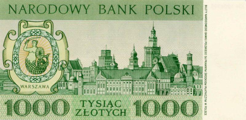 Rewers banknotu 1000 złotych 1965 z serii Miasta Polskie wersja 1