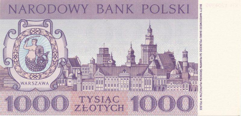 Rewers banknotu 1000 złotych 1965 z serii Miasta Polskie wersja 2