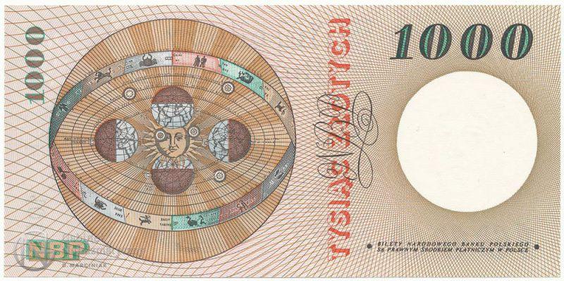 Rewers banknotu 1000 złotych 1965 z Mikołajem Kopernikiem