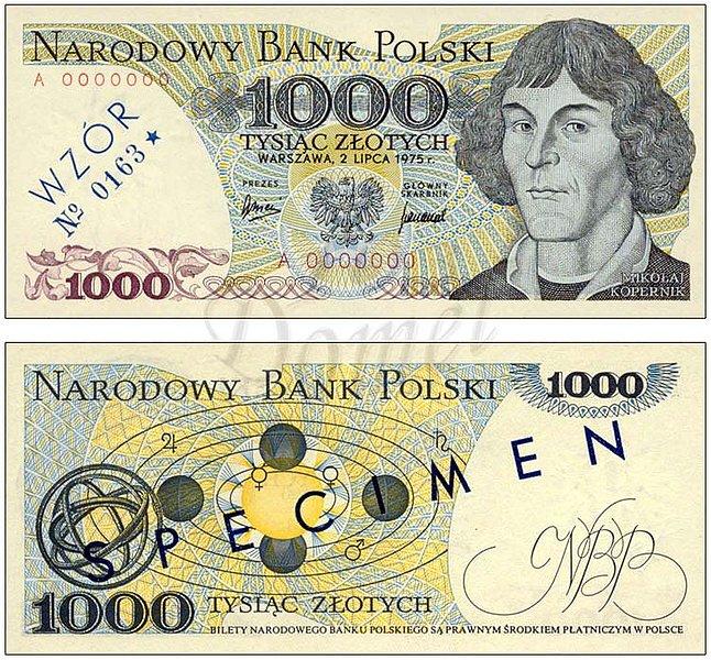 Wzór 1000 złotych 1975 z Mikołajem Kopernikiem