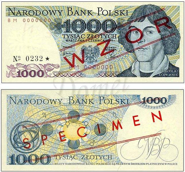 Wzór 1000 złotych 1979 z Mikołajem Kopernikiem