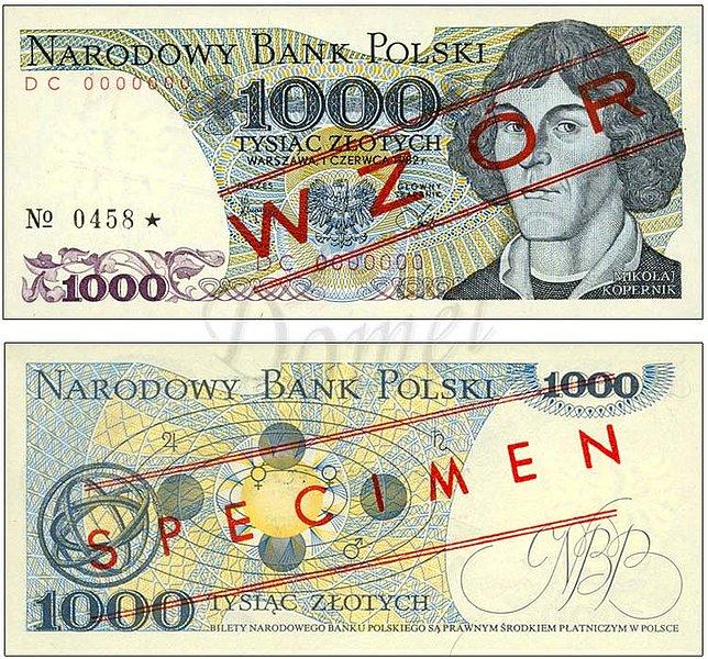 Wzór 1000 złotych 1982 z Mikołajem Kopernikiem