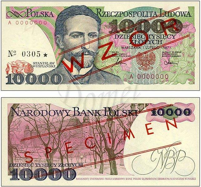 Wzór 10000 złotych 1987 z Stanisławem Wyspiańskim