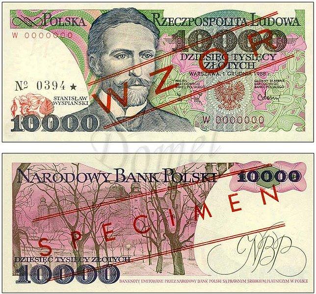 Wzór 10000 złotych 1988 z Stanisławem Wyspiańskim