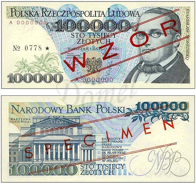 Wzór 100000 złotych 1990 z Stanisławem Moniuszko