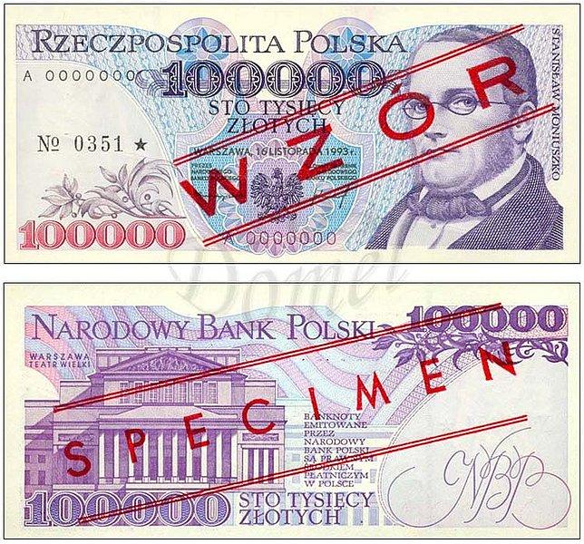 Wzór 100000 złotych 1993 z Stanisławem Moniuszko