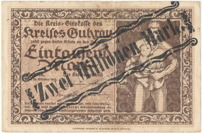 Awers notgelda 2 miliony marek 1923 powiatu Góry z przedrukiem