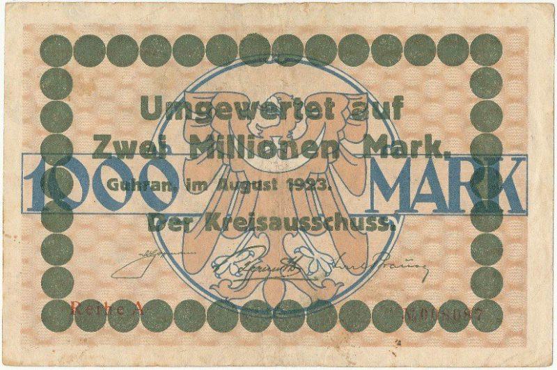 Rewers notgelda 2 miliony marek 1923 powiatu Góry z przedrukiem