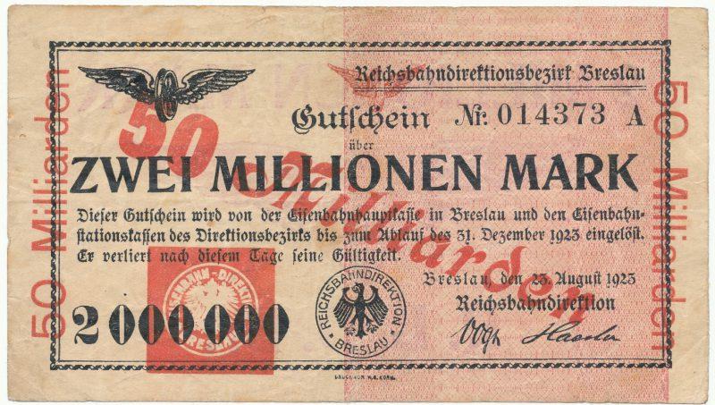 Przedruk na 50 miliardów nadrukowany na notgeld 2 milionów marek 1923 Wrocław
