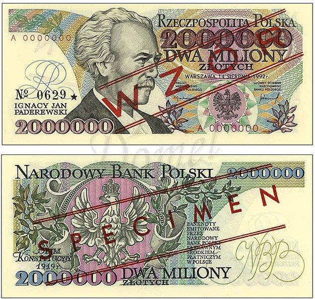 Wzór dwóch milionów złotych 1992 z Ignacym Janem Paderewskim seria A