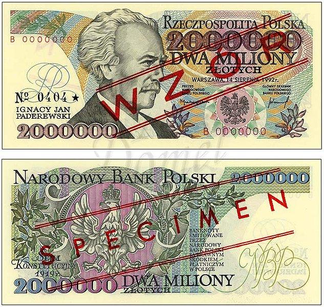 Wzór dwóch milionów złotych 1992 z Ignacym Janem Paderewskim seria B