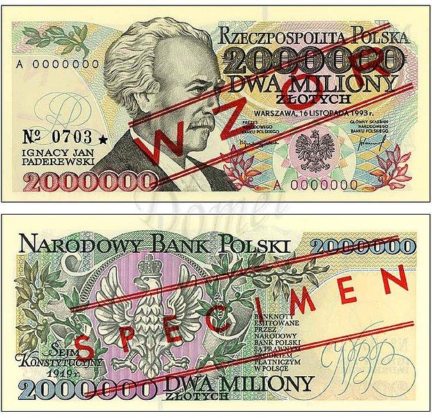 Wzór dwóch milionów złotych 1993 z Ignacym Janem Paderewskim