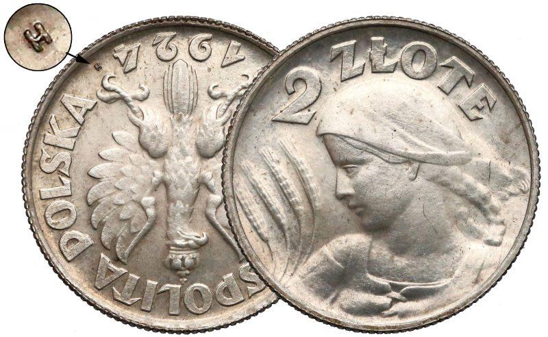 2 złote 1924 Żniwiarka odwrotka z literką H
