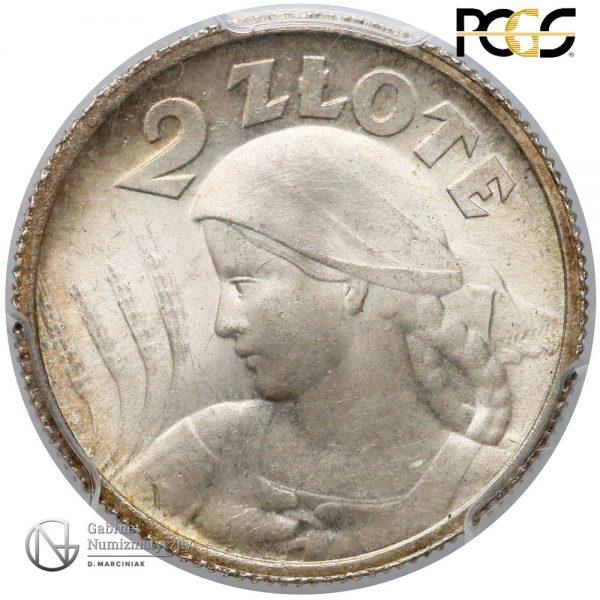 Rewers 2 złote 1924 Paryż w ocenie PCGS MS65+