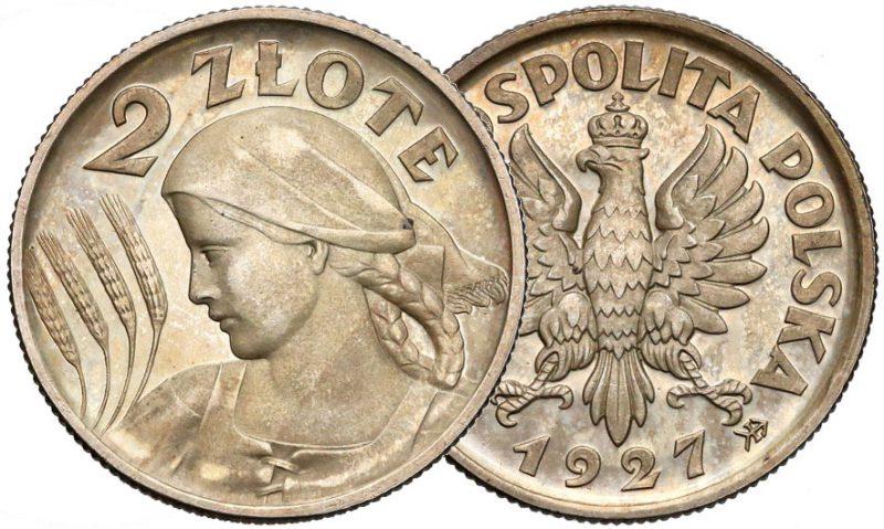 2 złote 1924 Żniwiarka z orłem Konstytucji