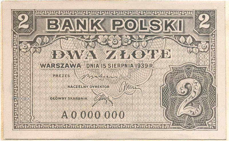 Awers banknotu 2 złote 1939 w wersji z drobnymi różnicami względem wersji zatwierdzonej