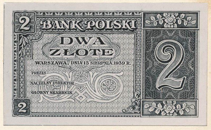 Awers banknotu 2 złote 1939 w wersji zupełnie odmiennej od zatwierdzonej