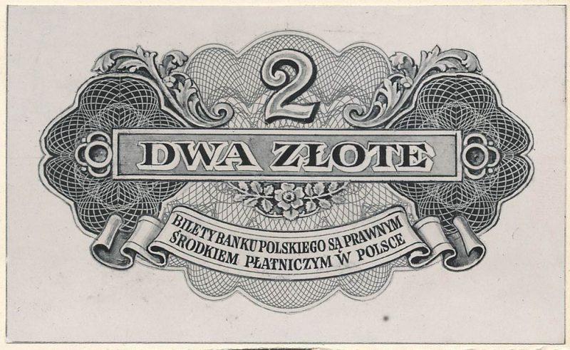 Rewers banknotu 2 złote 1939 w wersji zupełnie odmiennej od zatwierdzonej