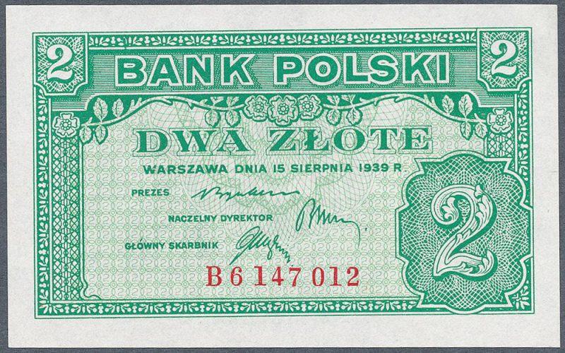 Awers zatwierdzonej wersji banknotu 2 złote 1939