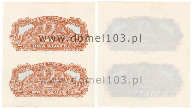 Nieukończony poddruk i rysunek główny banknotu 2 złote 1944