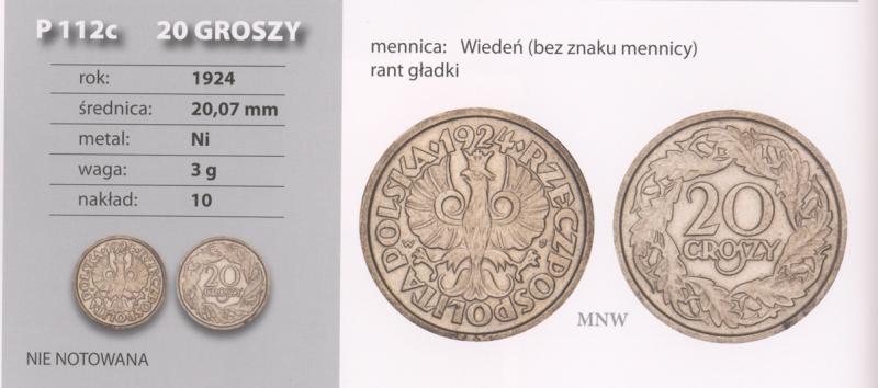 Skan z katalogu Janusza Parchimowicza z 20 groszy 1924