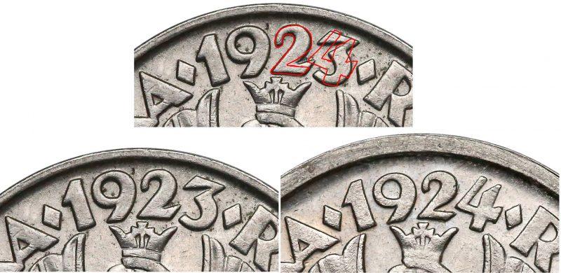 Krój cyfr w dacie 20 groszy 1924