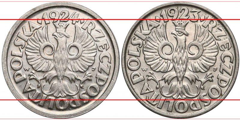 Porównanie awersów próbnej 20 groszy 1924 i obiegowej 20 groszy 1923