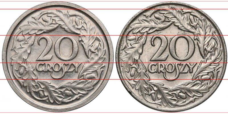 Porównanie rewersów próbnej 20 groszy 1924 i obiegowej 20 groszy 1923