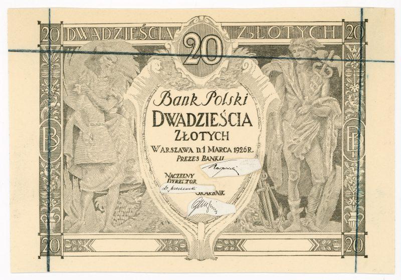 Próba kolorystyczna 1 banknotu 20 złotych 1926