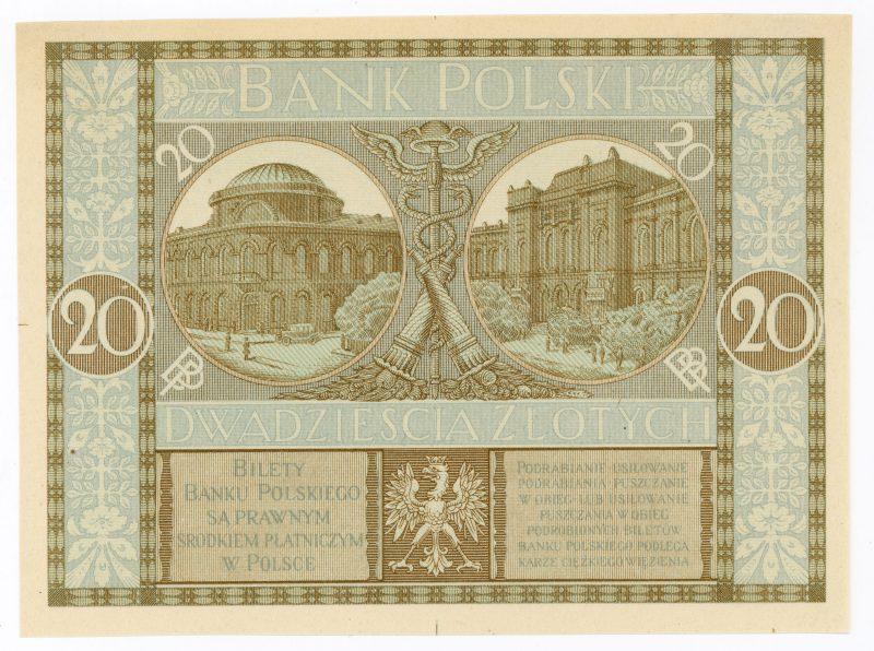 Próba kolorystyczna 2 banknotu 20 złotych 1926