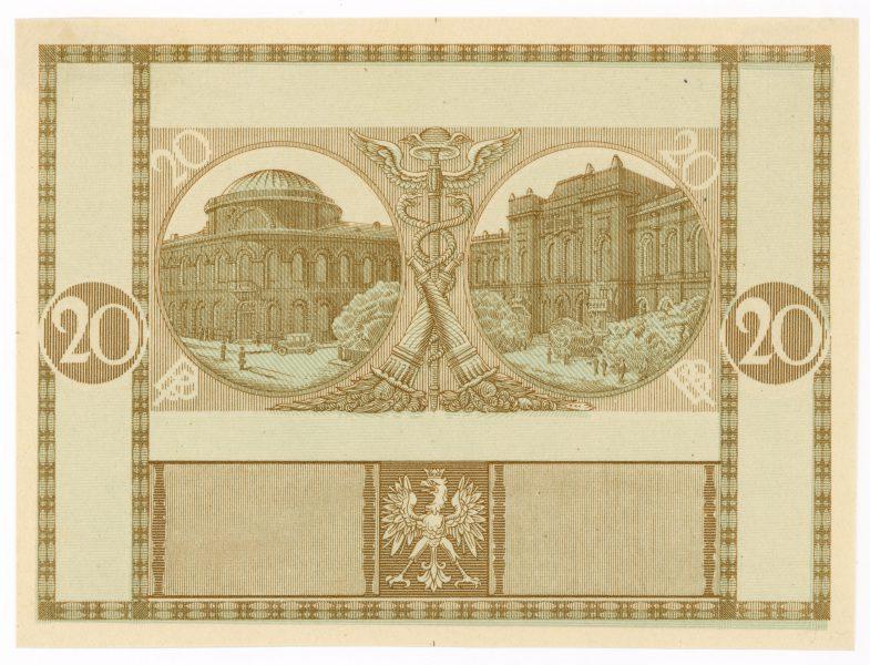 Próba kolorystyczna 3 banknotu 20 złotych 1926
