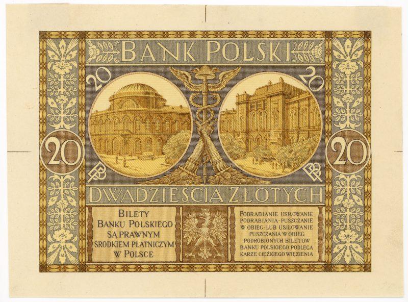 Próba kolorystyczna 4 banknotu 20 złotych 1926