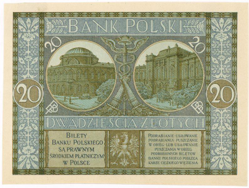 Próba kolorystyczna 5 banknotu 20 złotych 1926