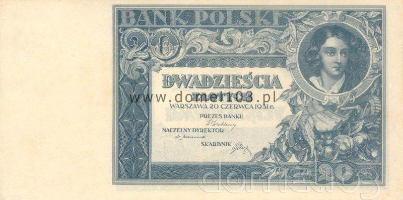 Rozbiegówka banknotu 20 złotych 1931