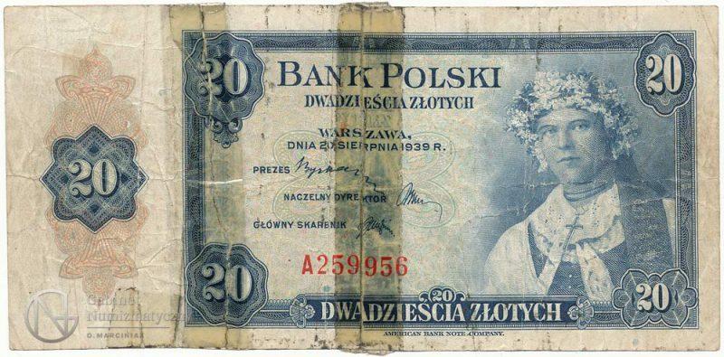 Awers banknotu 20 złotych 1939