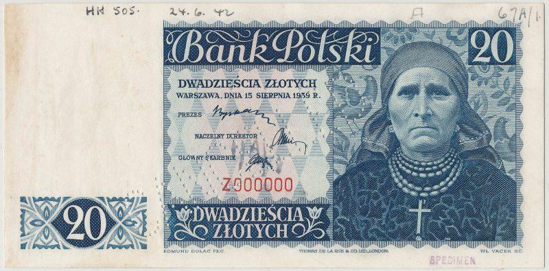 Awers banknotu 20 złotych 1939 seria Z z perforacją i adnotacjami